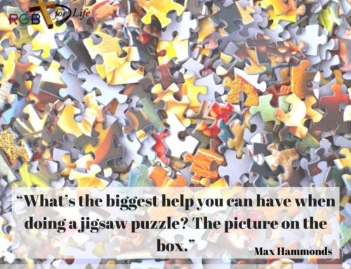 """""""What's the biggest help you can have when doing a jigsaw puzzle? The picture on the box."""""""