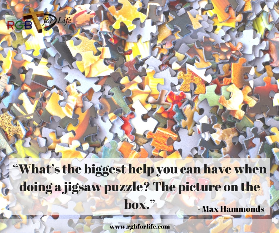 "RGB4life - ""What's the biggest help you can have when doing a jigsaw puzzle? The picture on the box."""