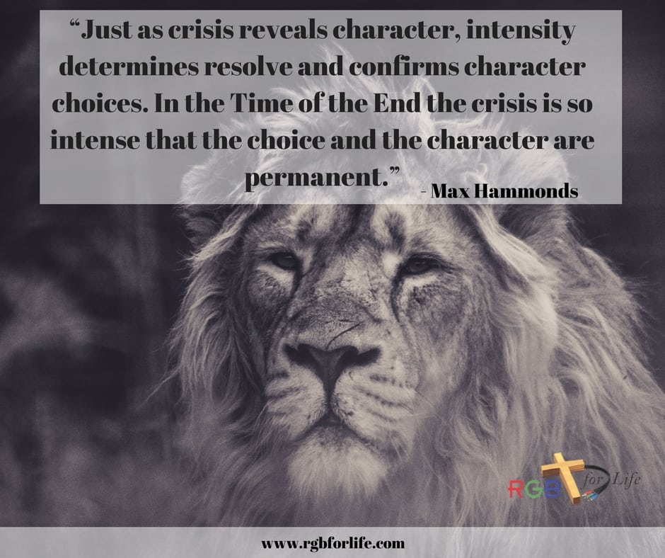 RGB4life - Just as crisis reveals character, intensity determines resolve and confirms character choices. In the Time of the End the crisis is so intense that the choice and the character are permanent